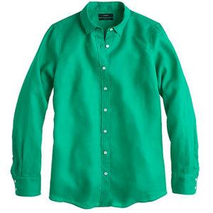 J. Crew Kelly green Linen Button Up